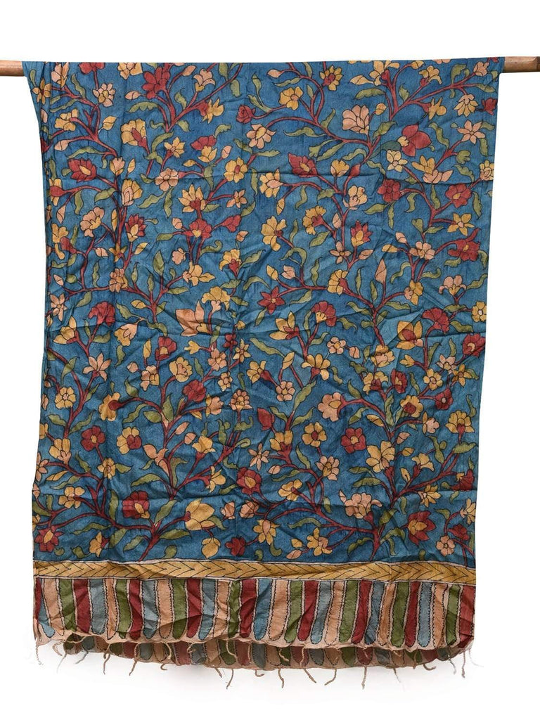 Blue Kalamkari Hand Painted Tussar Dupatta with Small Flowers Design ds2130