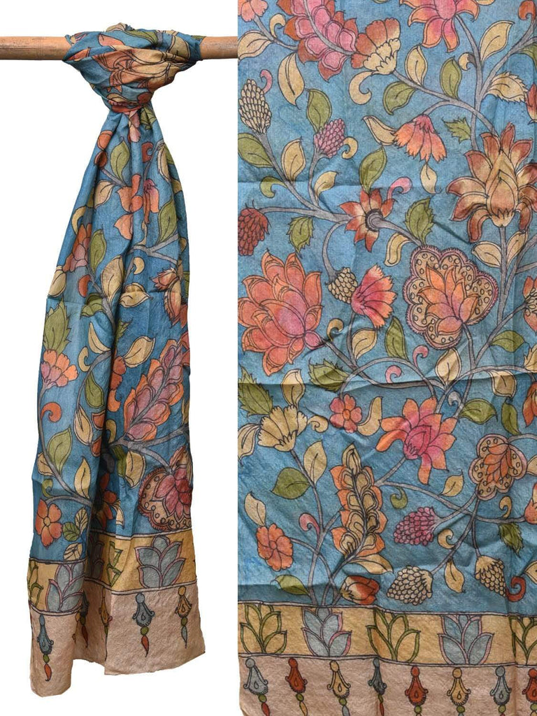 Blue Kalamkari Hand Painted Tussar Handloom Dupatta with Exotic Flowers Design ds2147