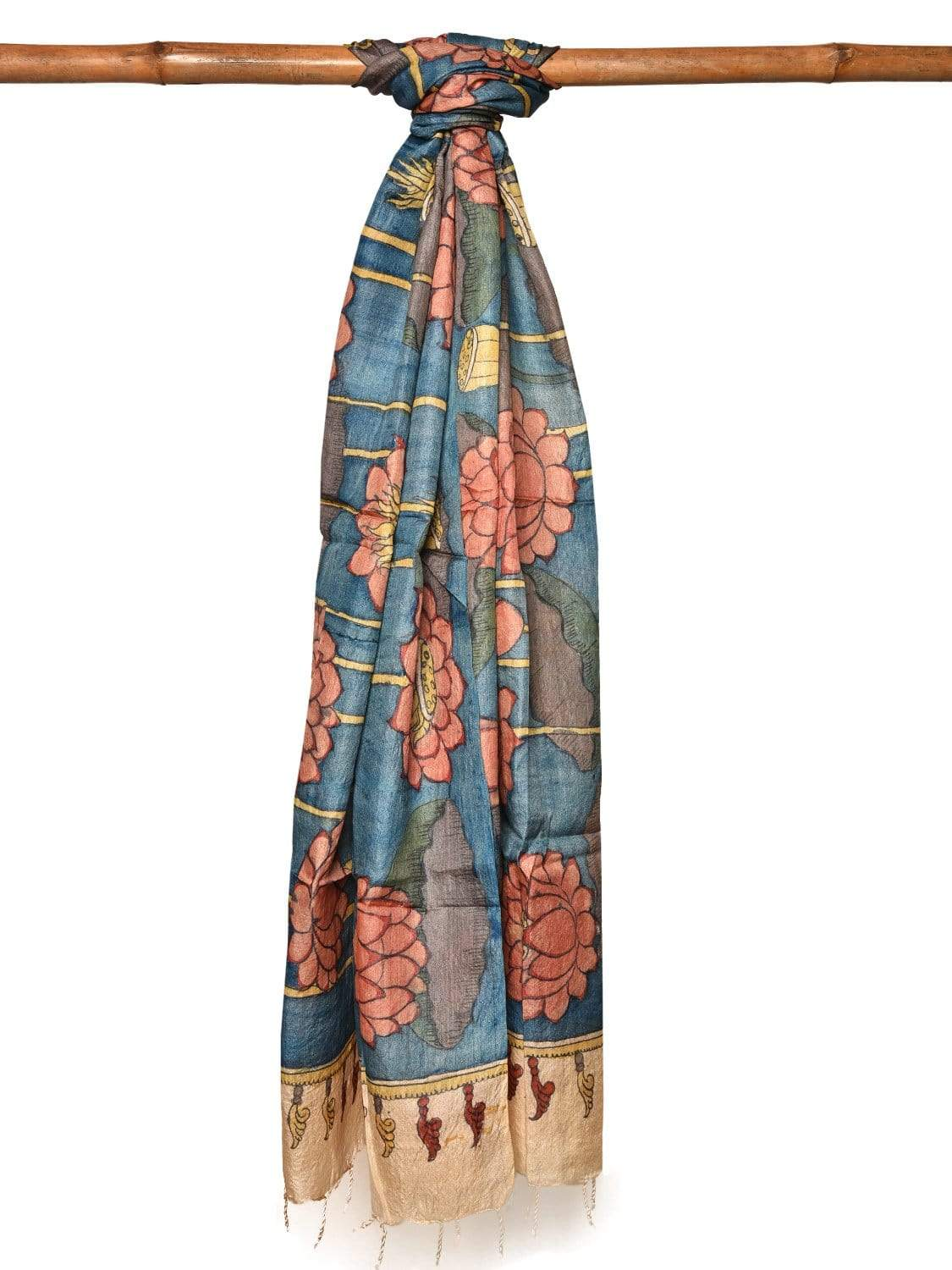 Blue Kalamkari Hand Painted Tussar Handloom Dupatta with Lotus Flowers Design ds1977