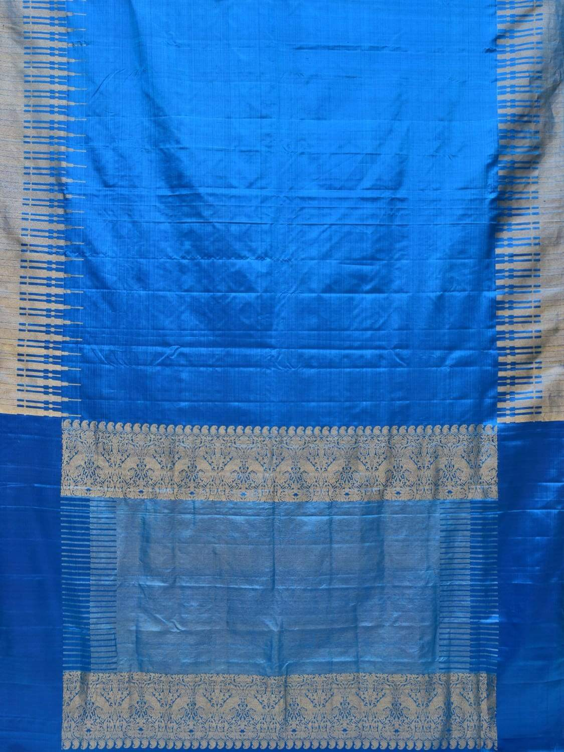 Blue Kanchipuram Silk Handloom Saree with Border Temple Design k0496