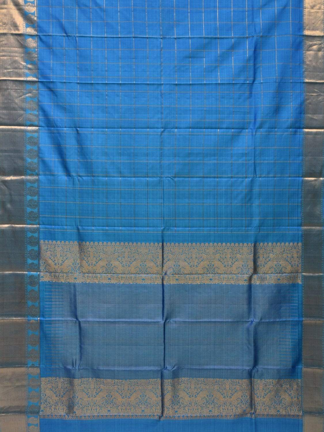 Blue Kanchipuram Silk Handloom Saree with Checks and Border Design k0493