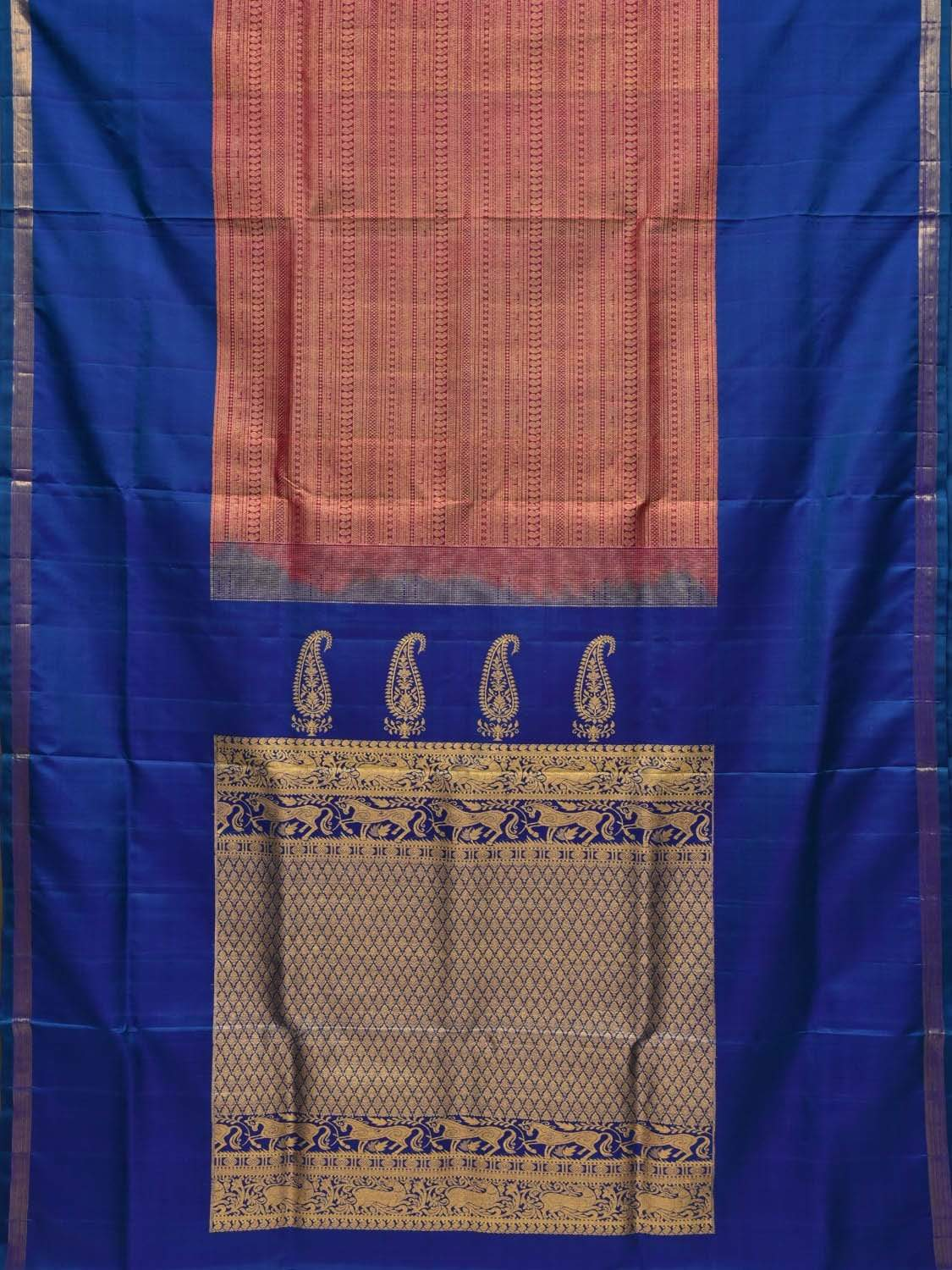 Blue Kanchipuram Silk Handloom Saree with Mango Pallu and Middle Brocade Design k0489
