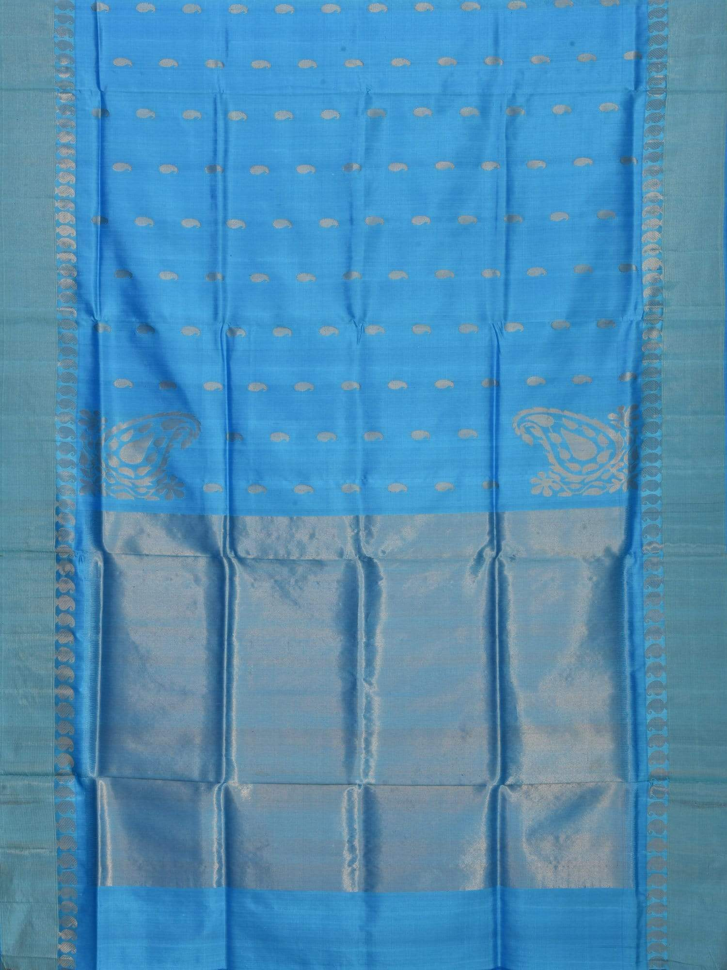 Blue Kanchipuram Slik Handloom Saree with Corner Mango Design K0291
