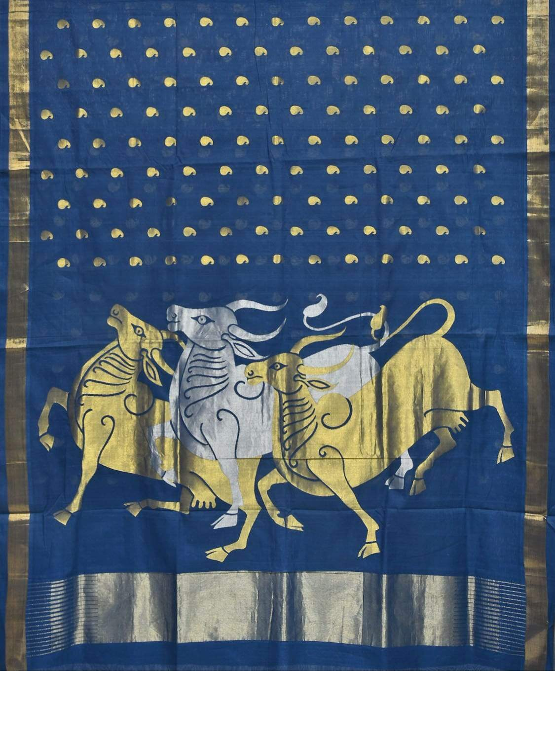 Blue Khadi Cotton Handloom Saree with Mango Butas and Cows Pallu Design No Blouse kh0464