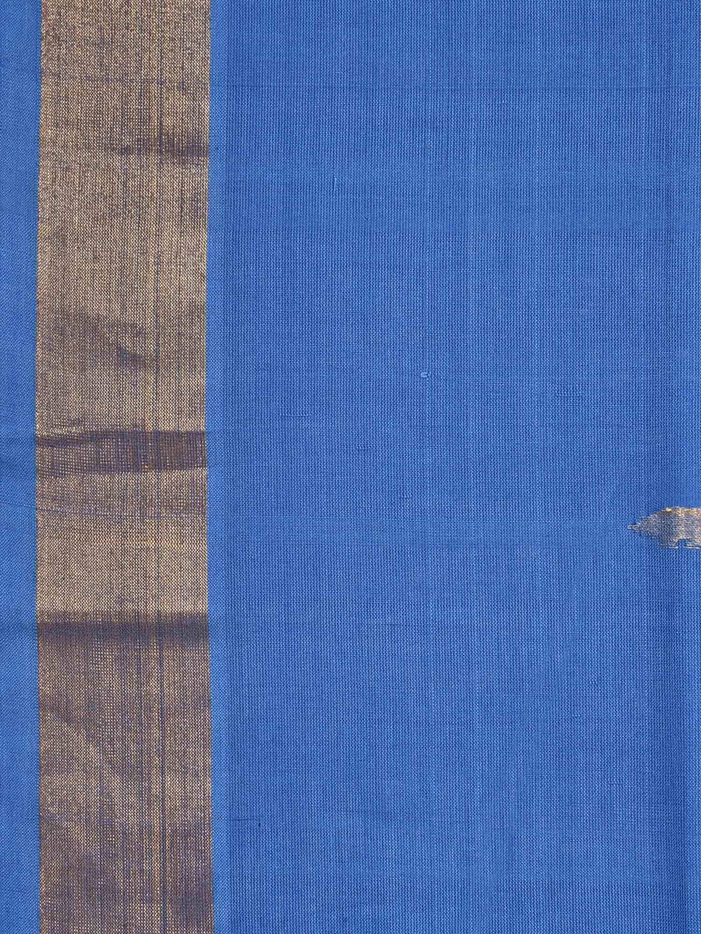 Blue Khadi Cotton Handloom Saree with Tree Pallu Design kh0364