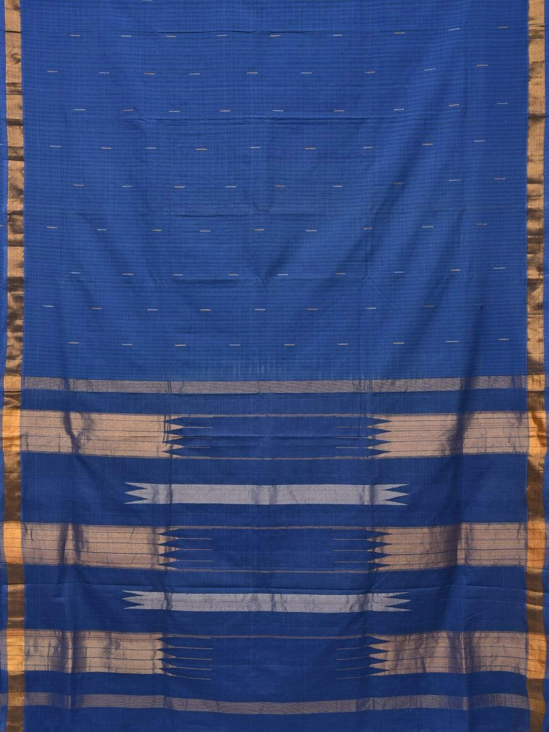 Blue Khadi Cotton Handloom Saree with Zari Strips Design kh0471