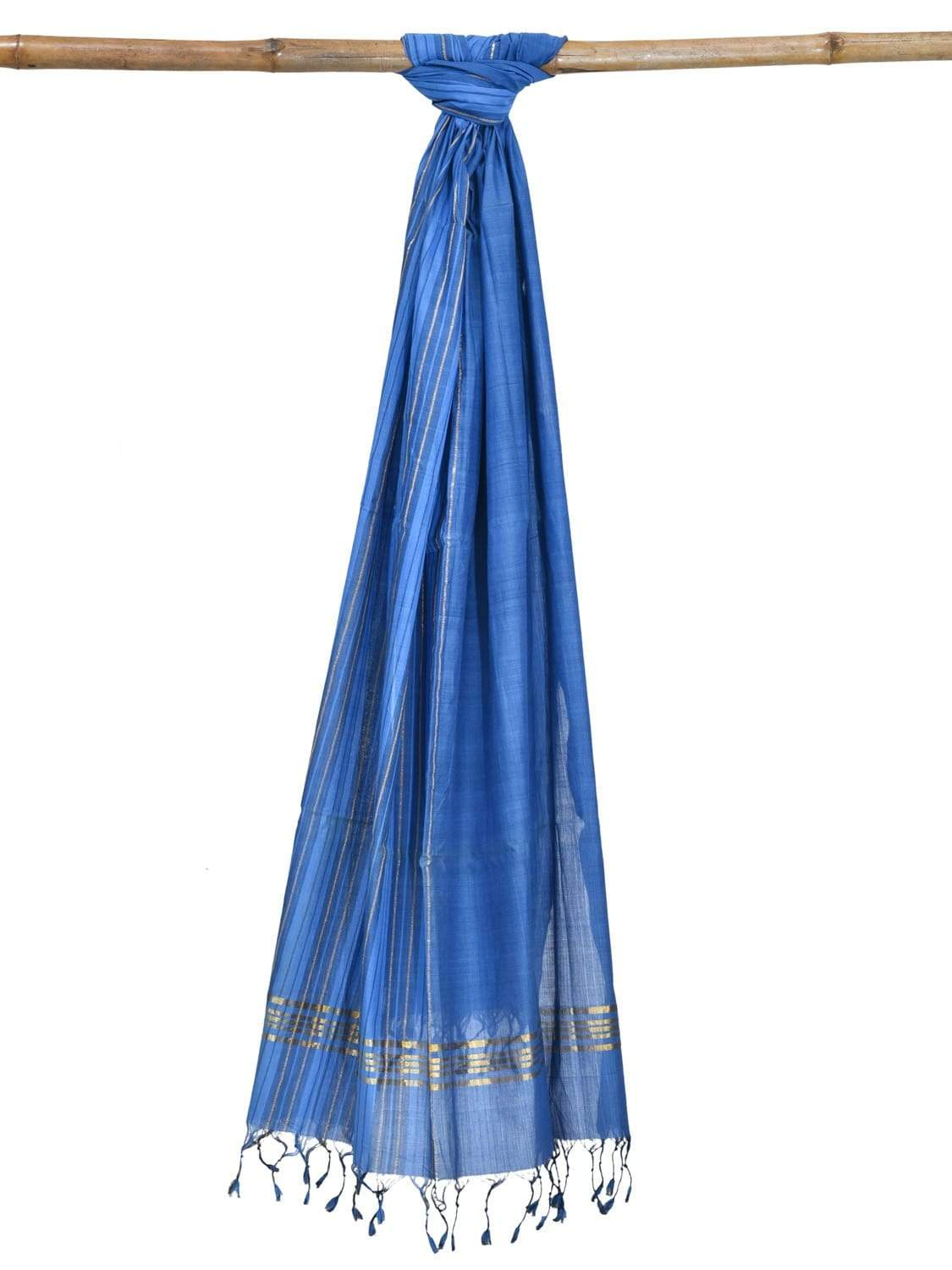 Blue Mangalgiri Cotton Handloom Dupatta with Strips Design ds1854