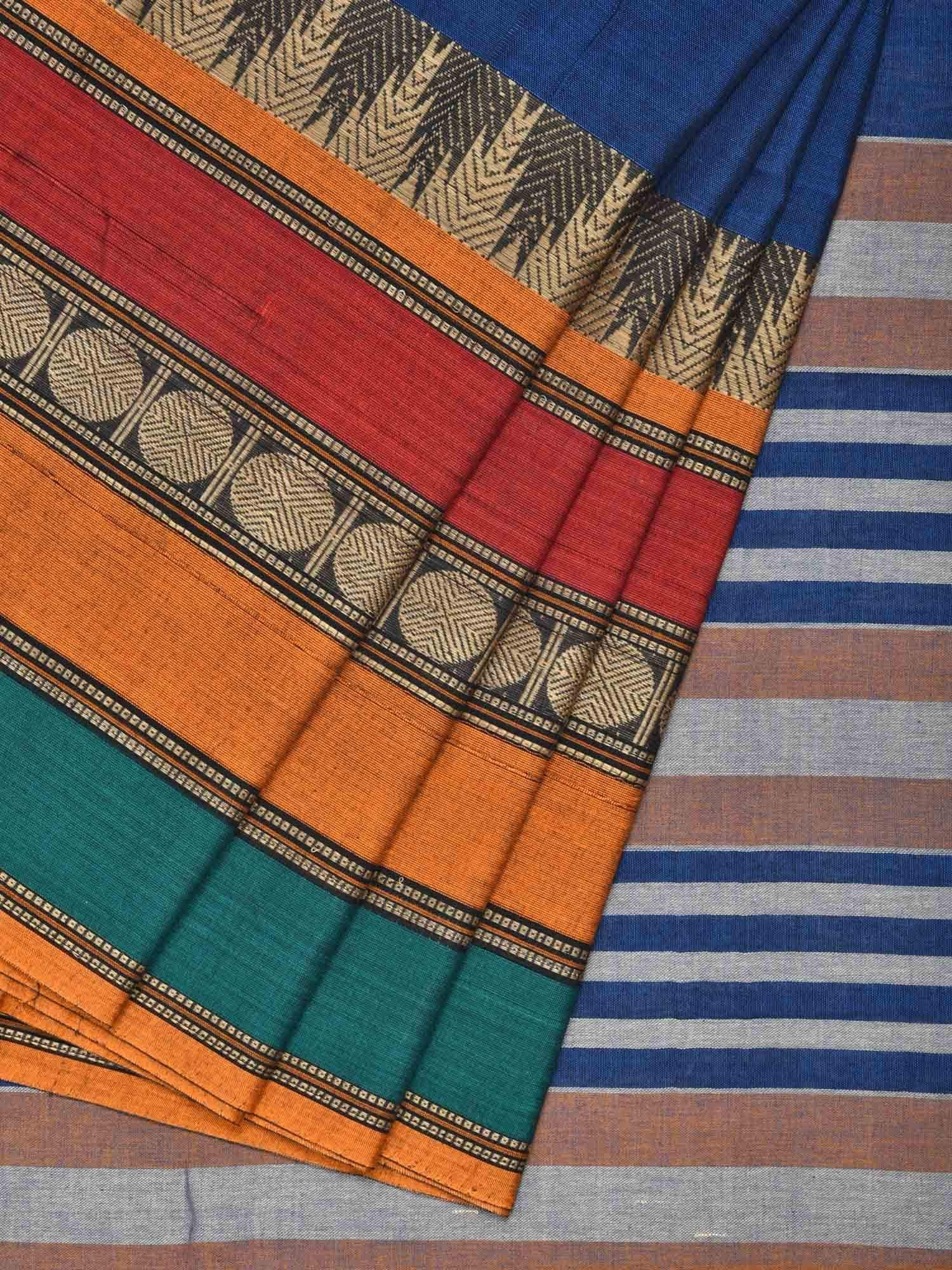 Blue Narayanpet Cotton Handloom Plain Saree with One Side Big Border Design No Blouse  np0215