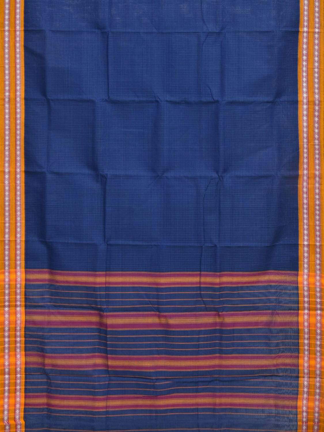 Blue Narayanpet Cotton Handloom Saree with Checks and Border Design No Blouse np0248