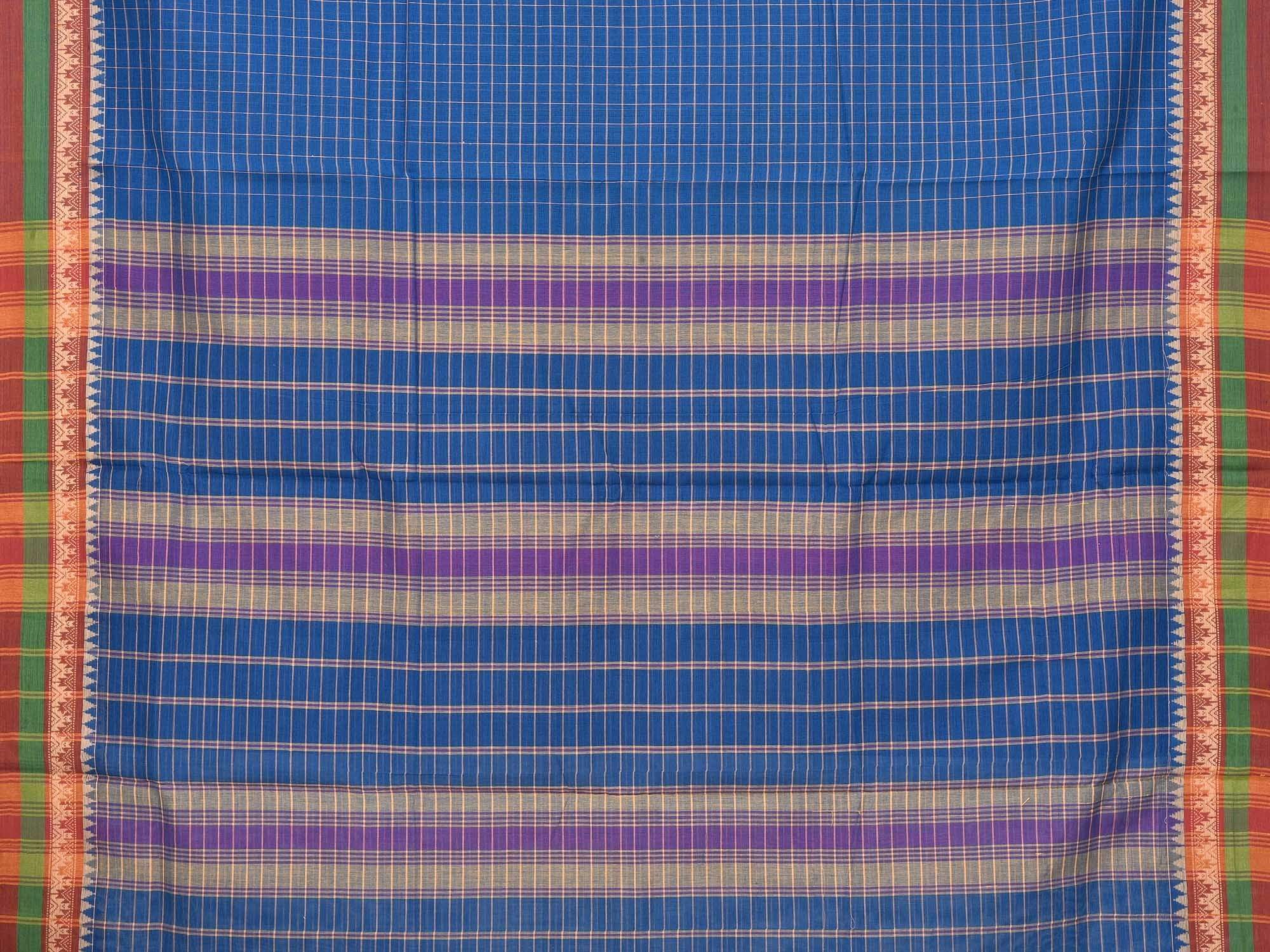 Blue Narayanpet Cotton Handloom Saree with Checks Design No Blouse np0222