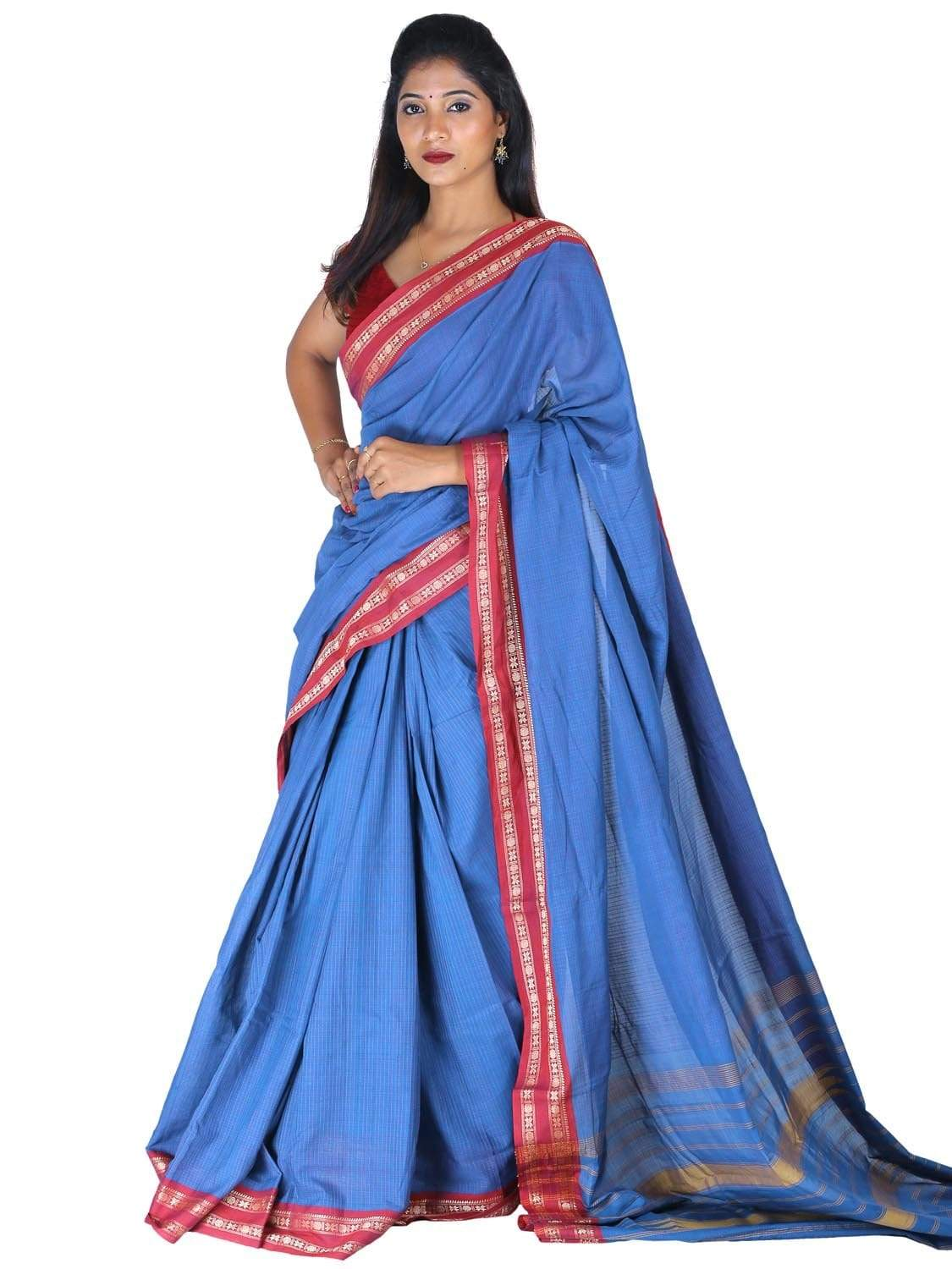 Blue Narayanpet Cotton Handloom Saree with Checks Design np0266