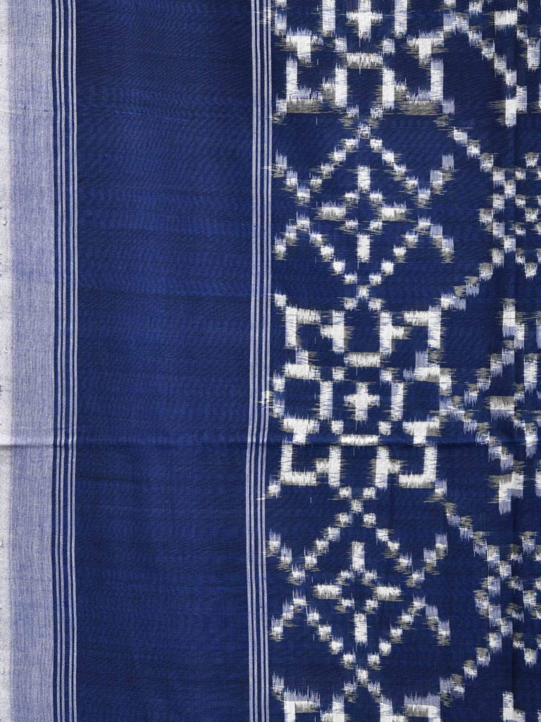 Blue Pochampally Double Ikat Cotton Handloom Saree with Grill Design i0575