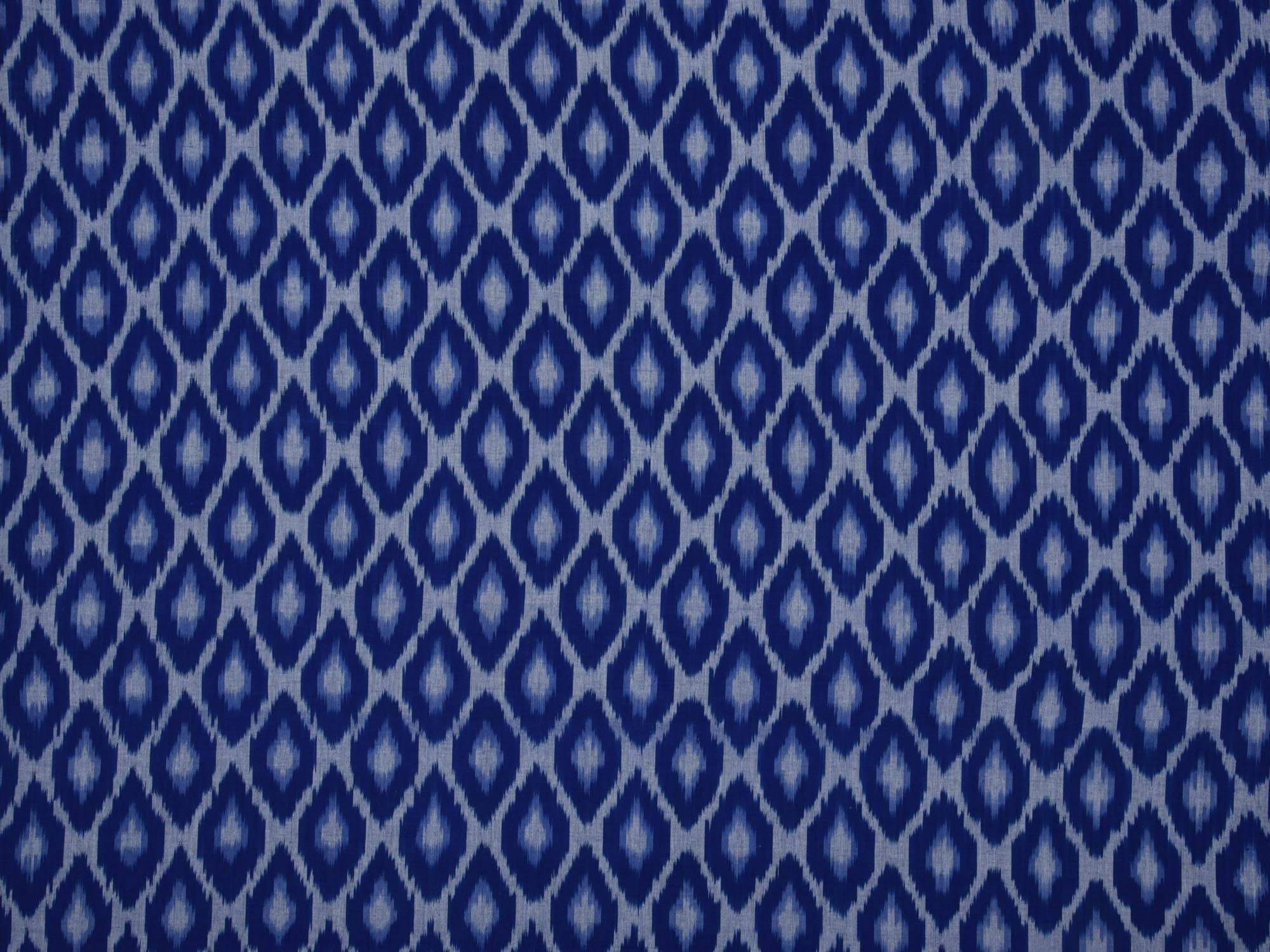 Blue Pochampally Ikat Cotton Fabric With Grill Design F0070
