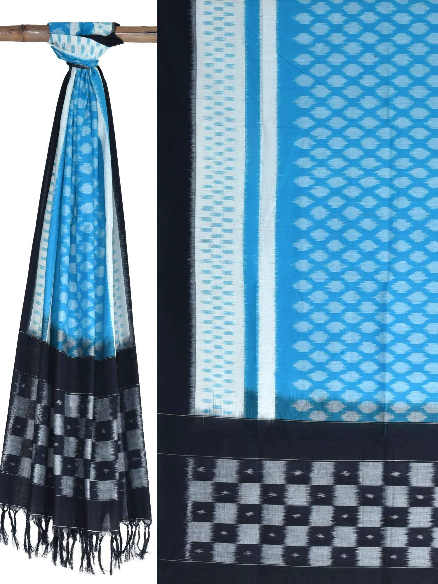 Blue Pochampally Ikat Cotton Handloom Dupatta ds1629