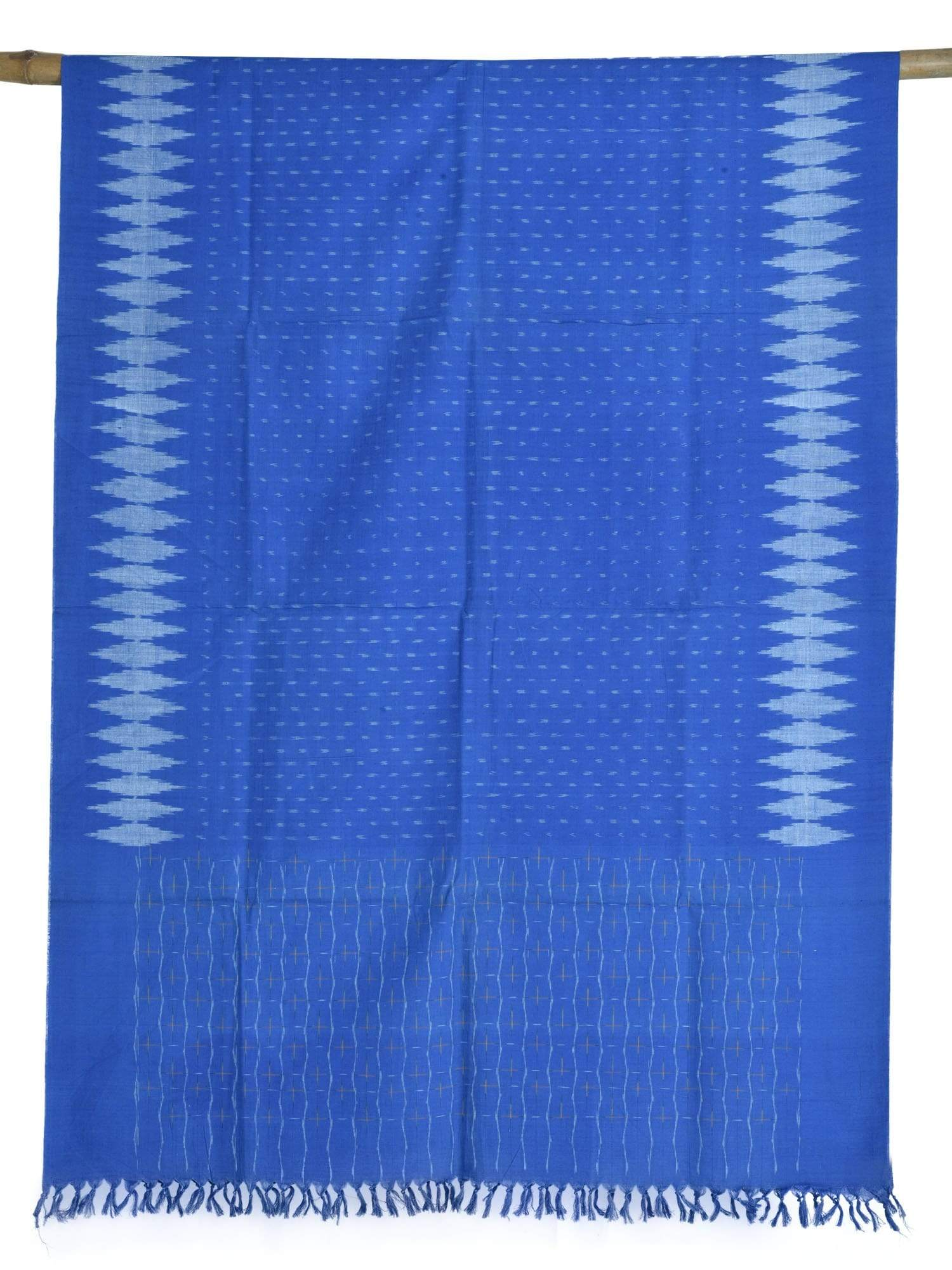 Blue Pochampally Ikat Cotton Handloom Dupatta with Border Design ds1608
