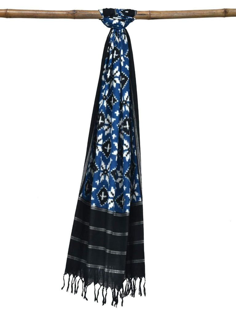 Blue Pochampally Ikat Cotton Handloom Dupatta with Telia Design ds1832