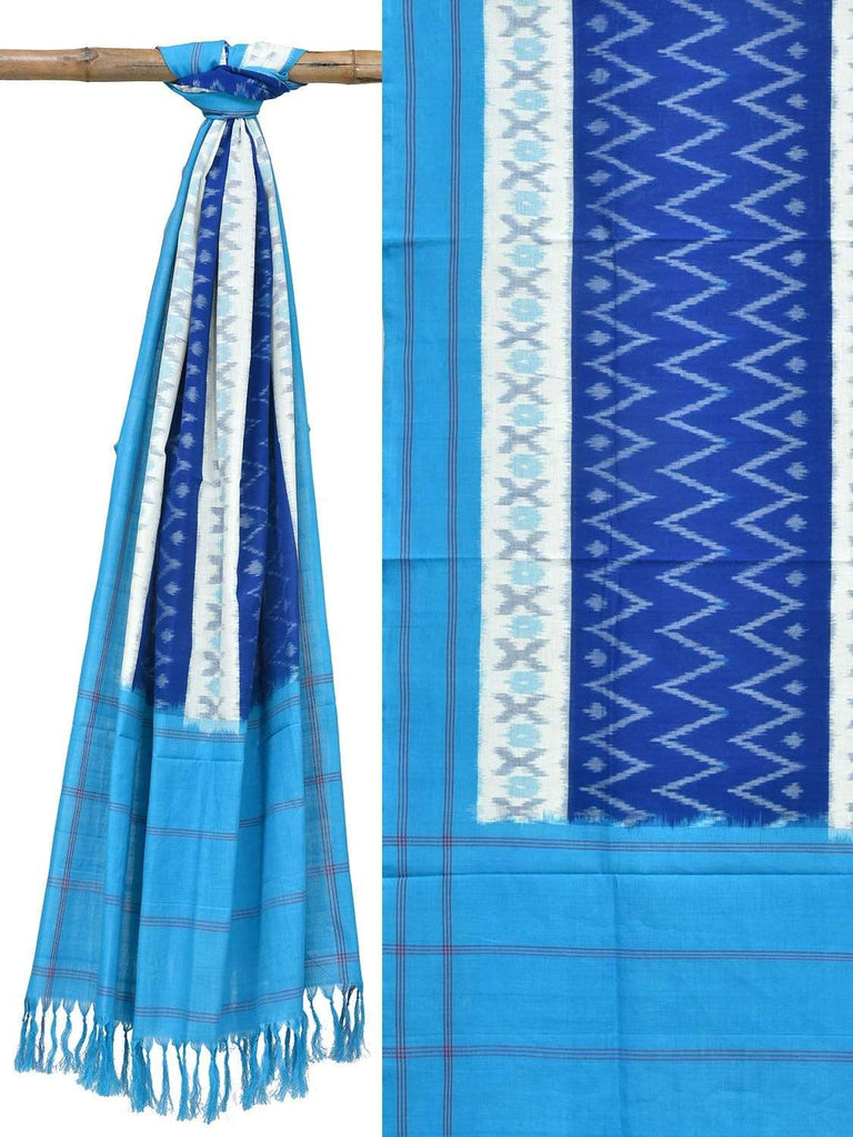 Blue Pochampally Ikat Cotton Handloom Dupatta with Zig-Zag Design ds1807