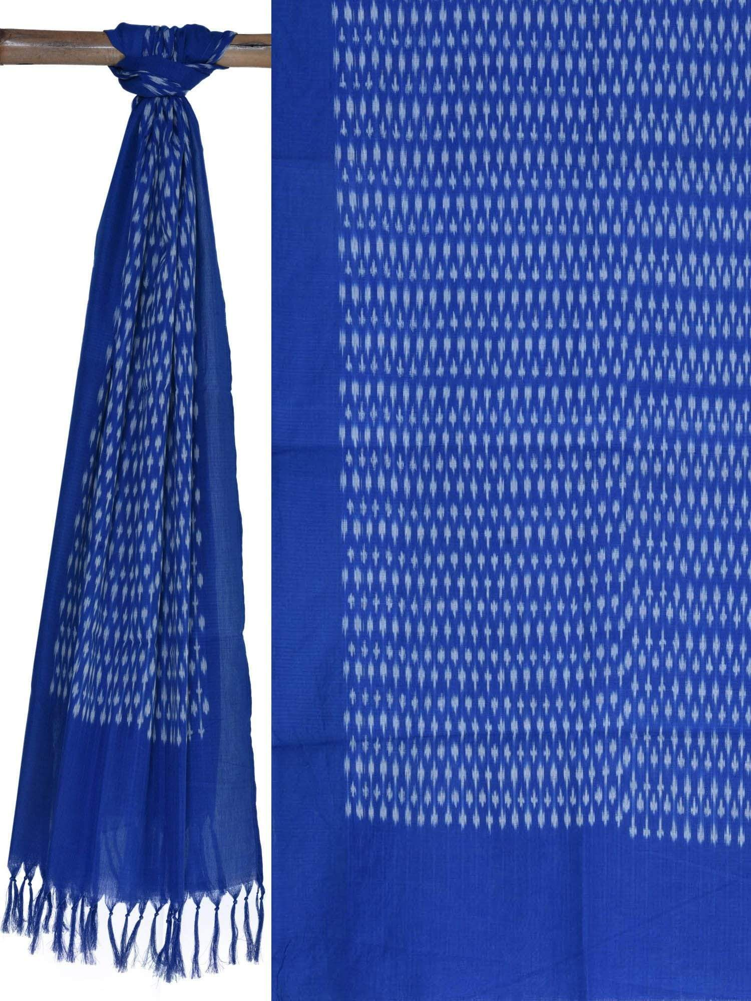 Blue Pochampally Ikat Cotton Handloom Stole ds1653