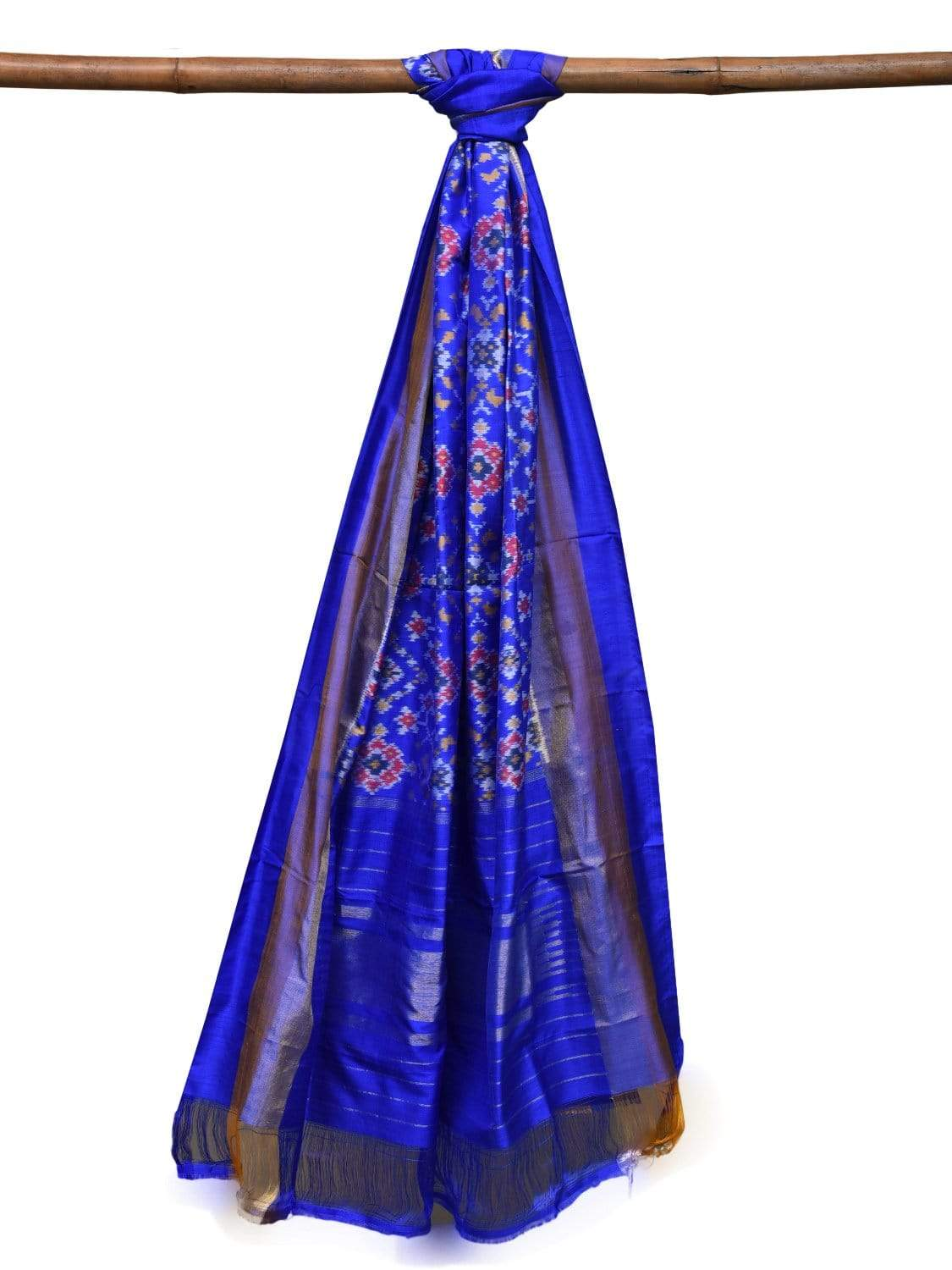 Blue Pochampally Ikat Silk Handloom Dupatta with All Over Design ds2043
