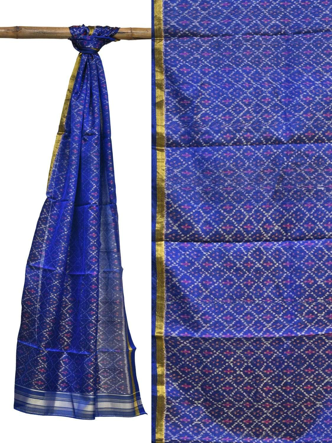 Blue Pochampally Ikat Silk Handloom Stole with Grill Design ds1864