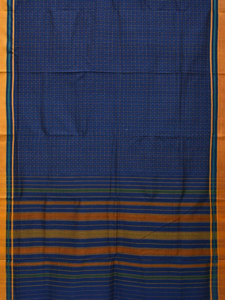 Blue Pochampally Single Ikat Cotton Handloom Saree with Checks Design i0577
