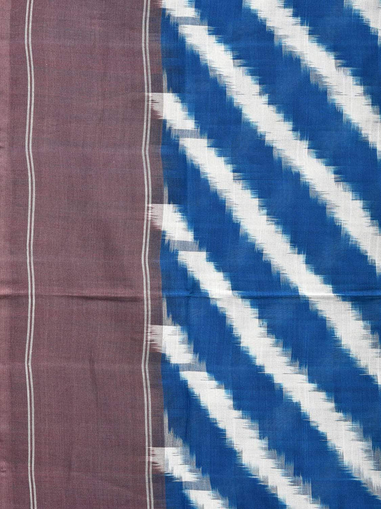 Blue Pochampally Single Ikat Cotton Handloom Saree with Diagonal Design i0569