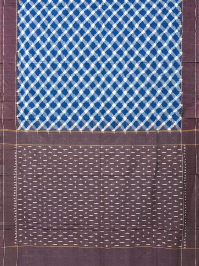 Blue Pochampally Single Ikat Cotton Handloom Saree with Grill Design i0571
