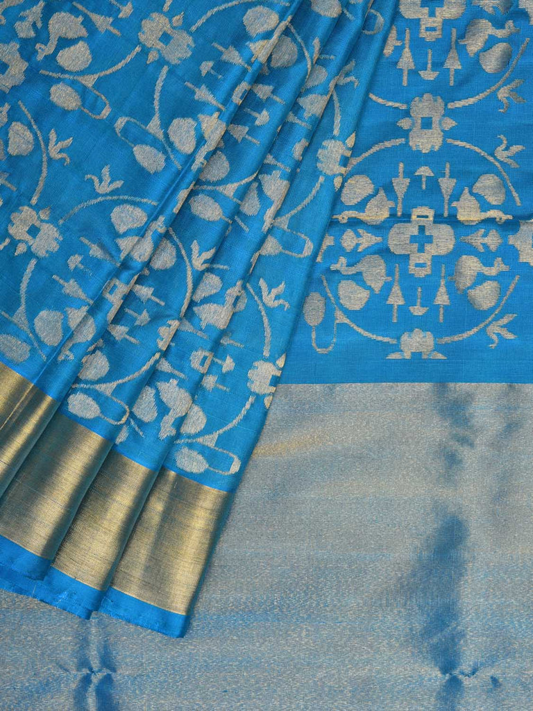 Blue Uppada Silk Handloom Saree with All Over Bangdimore Design u1724