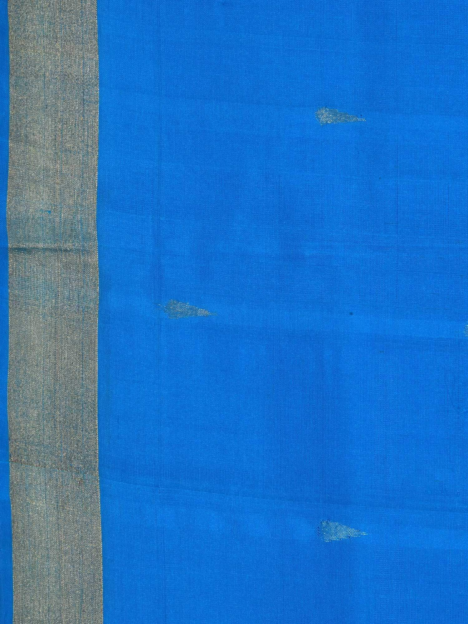 Blue Uppada Silk Handloom Saree with Karpur Pallu Design U1535