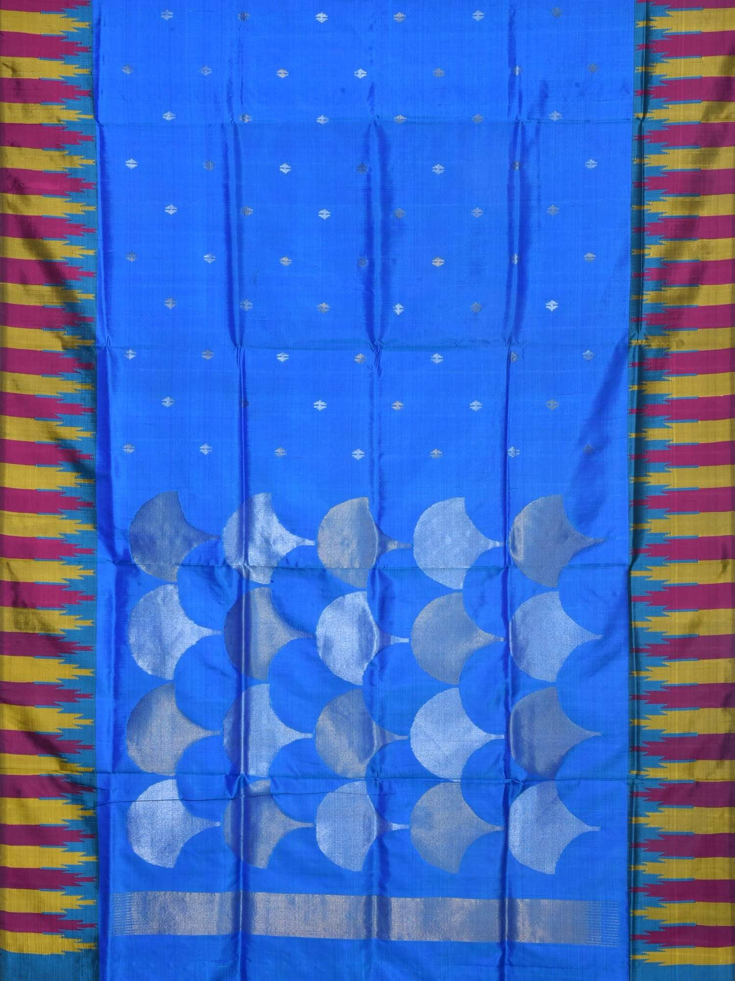 Blue Uppada Silk Handloom Saree with Pallu and Temple Border Design U1434