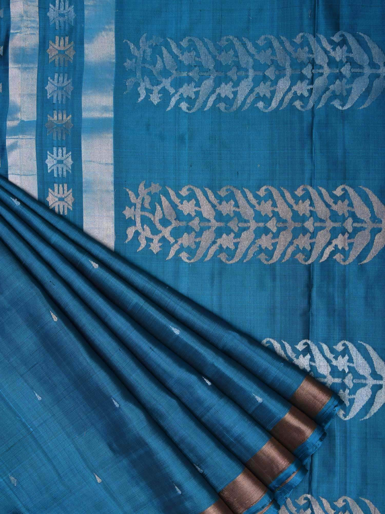 Blue Uppada Silk Handloom Saree with Pallu Design u1285