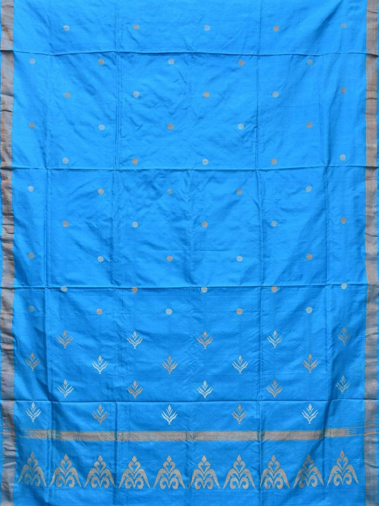 Blue Uppada Silk Handloom Saree with Trishul Buta Pallu Design u1709