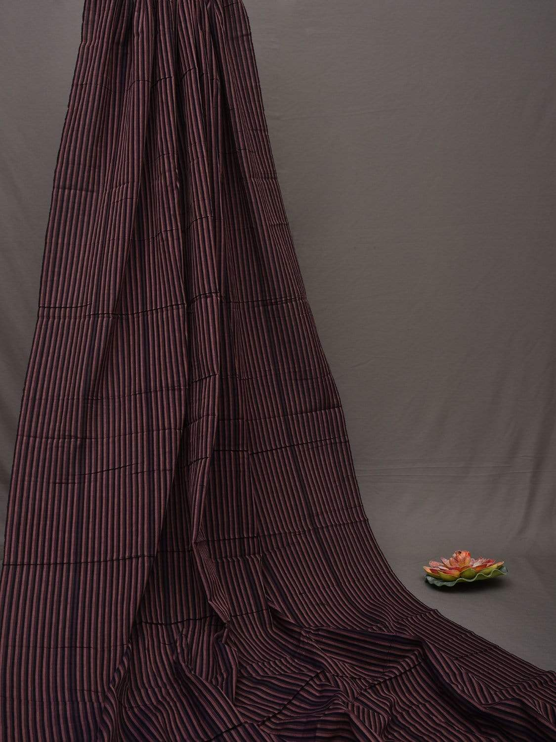 Brown and Black Khadi Cotton Handloom Fabric with Strips Design f0169