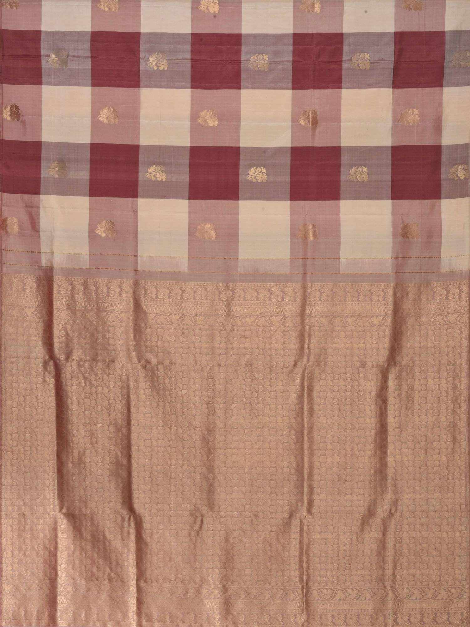 Brown and Cream Kanchipuram Silk Handloom Saree with Nilambari Buta and Checks Design K0385