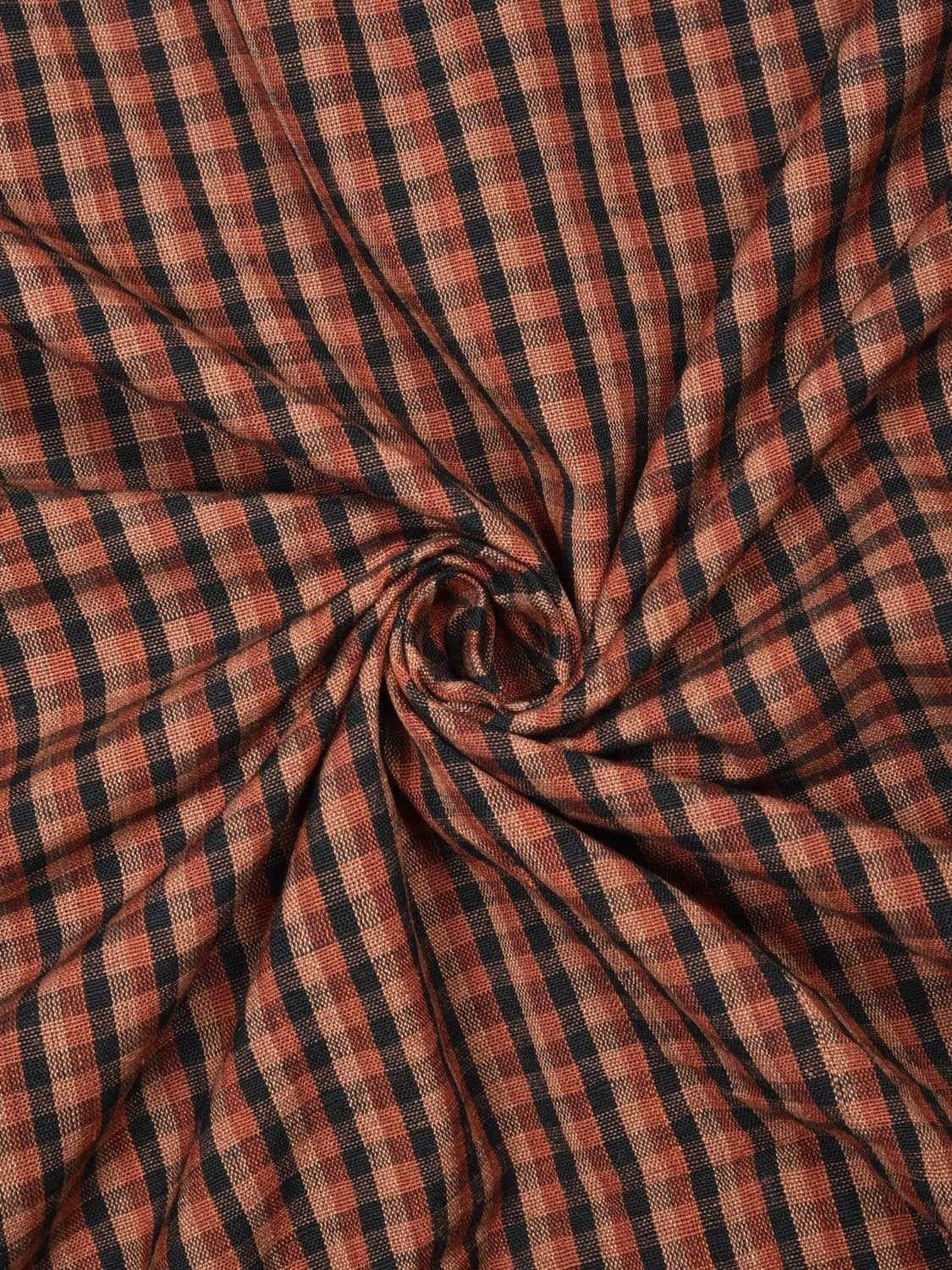 Brown Cotton Handloom Fabric Material with Small Checks Design f0149
