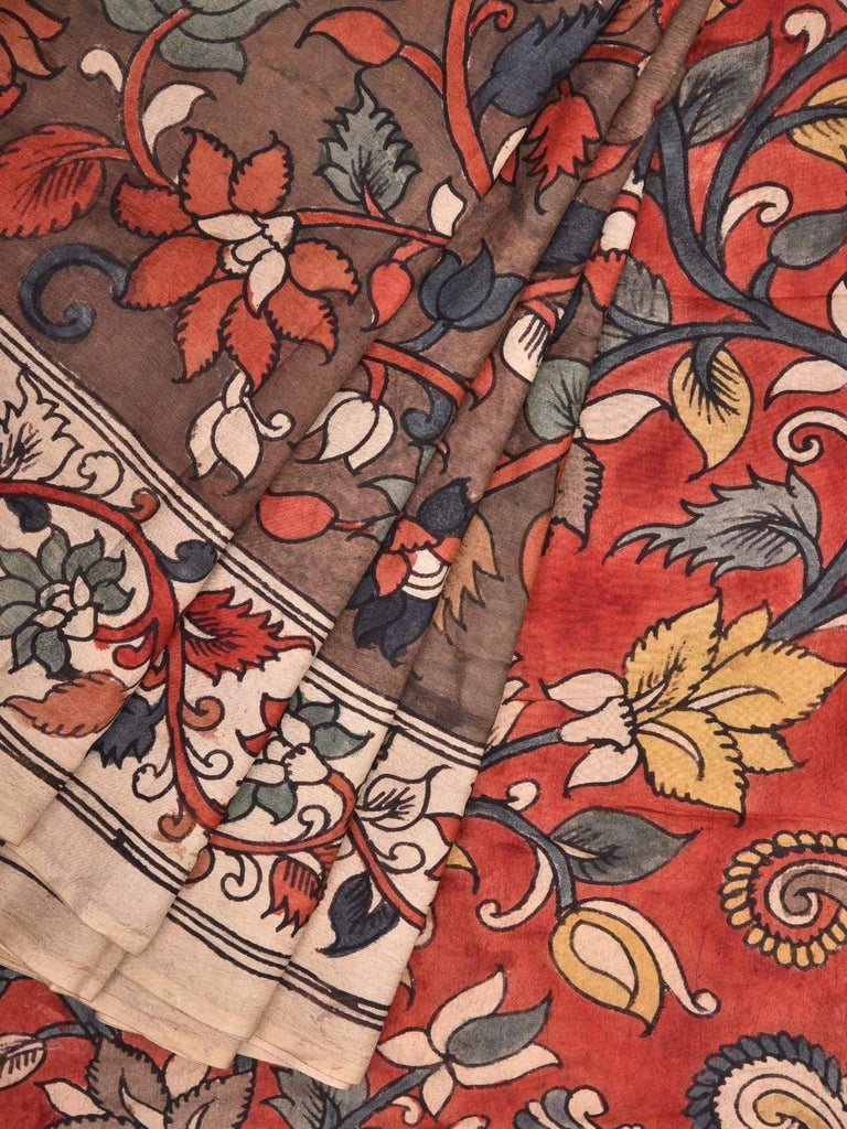 Brown Kalamkari Hand Painted Silk Handloom Saree with Peacock Pallu Design KL0334