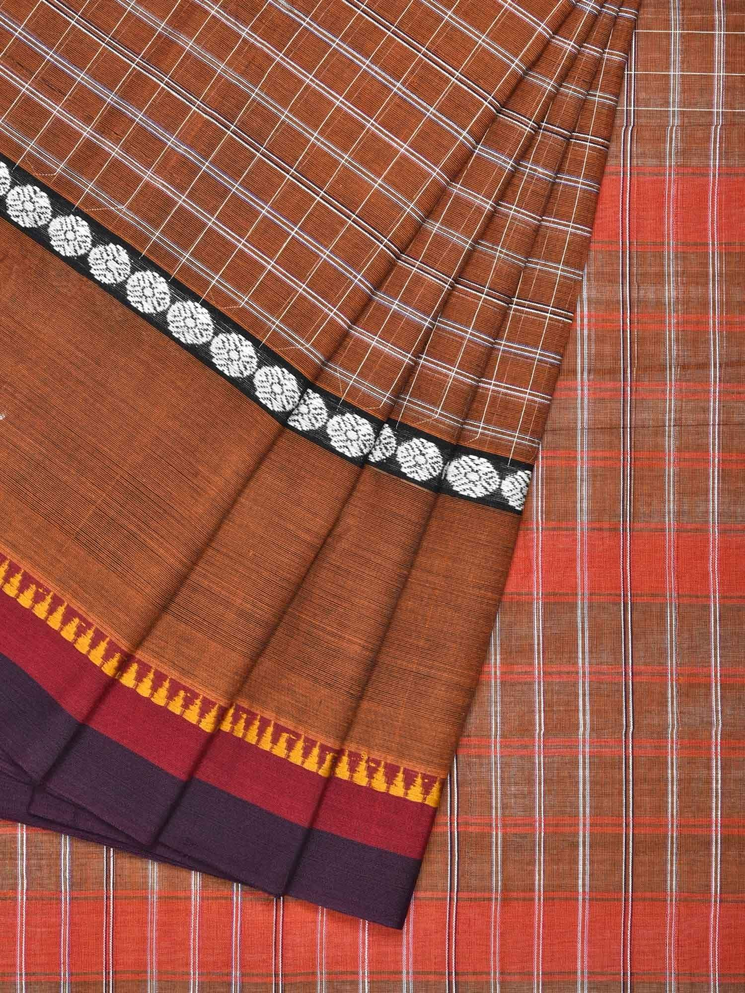 Brown Narayanpet Cotton Handloom Saree with Checks Design No Blouse np0212