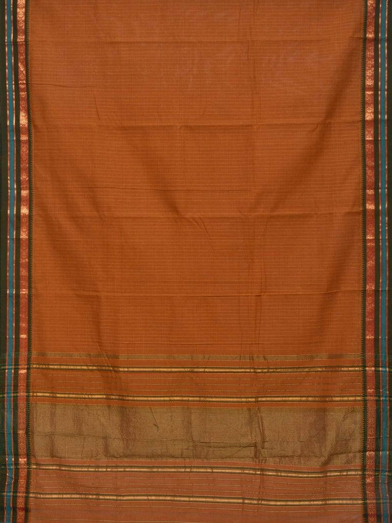 Brown Narayanpet Cotton Handloom Saree with Checks Design No Blouse np0231