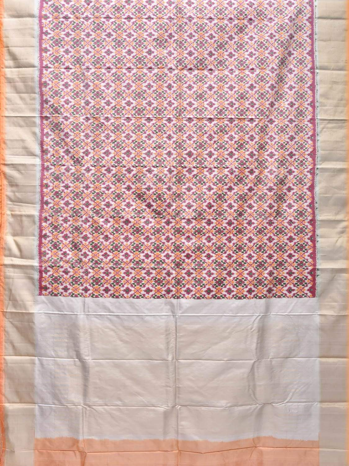Cream and Baby Pink Pochampally Single Ikat Silk Handloom Saree with All Over Design i0558