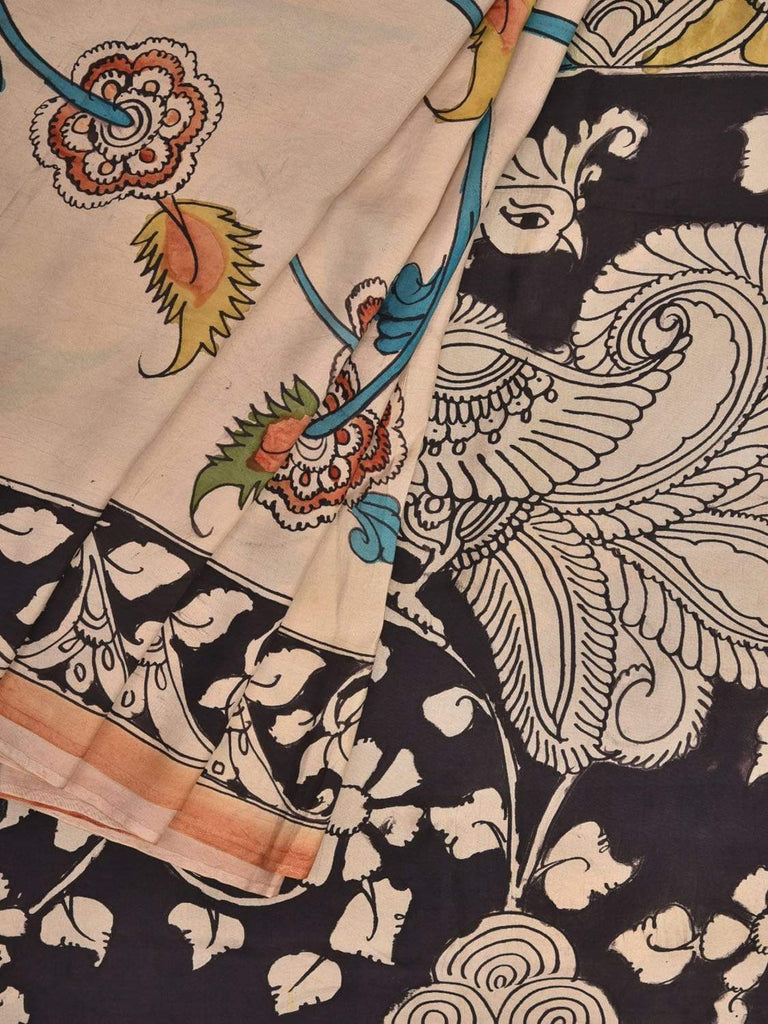 Cream and Black Kalamkari Hand Painted Silk Handloom Saree with Flowers and Border Design KL0362