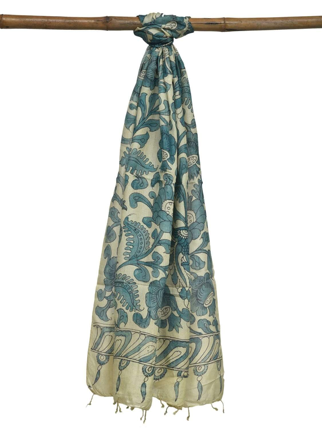 Cream and Blue Kalamkari Hand Painted Tussar Handloom Dupatta with Floral and Birds Design ds1916