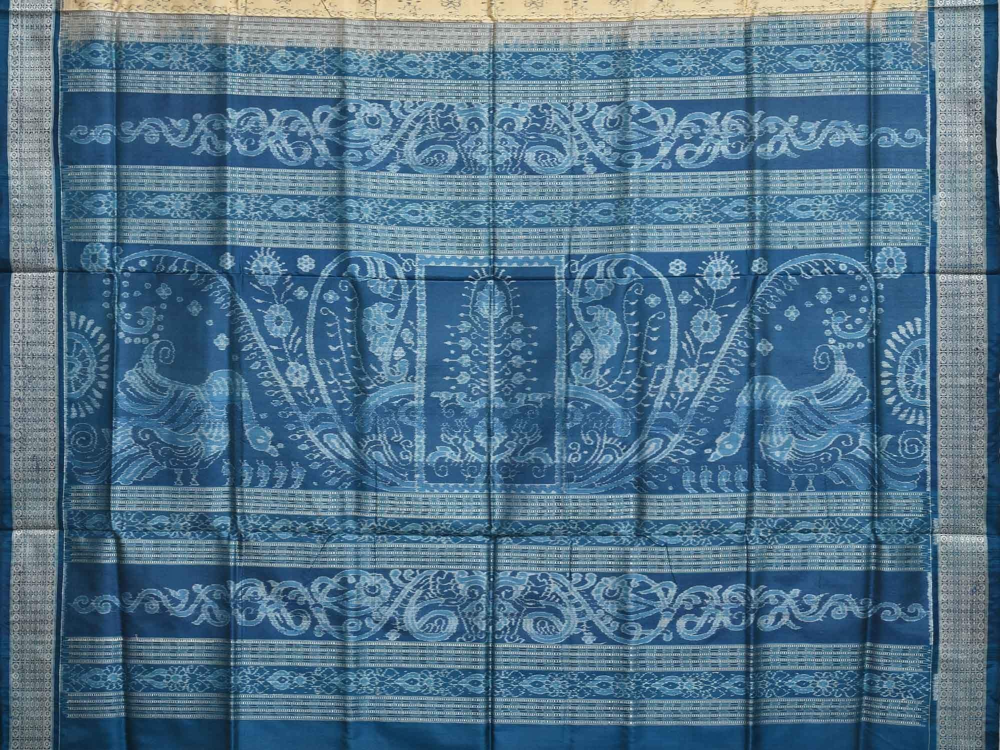 Cream and Blue Pochampally Ikat Silk Handloom Saree with Pallu Design i0511