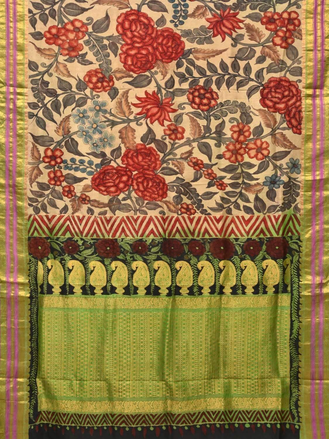 Cream and Green Kalamkari Hand Painted Gadwal Silk Handloom Saree with All Over Flowers Design KL0211