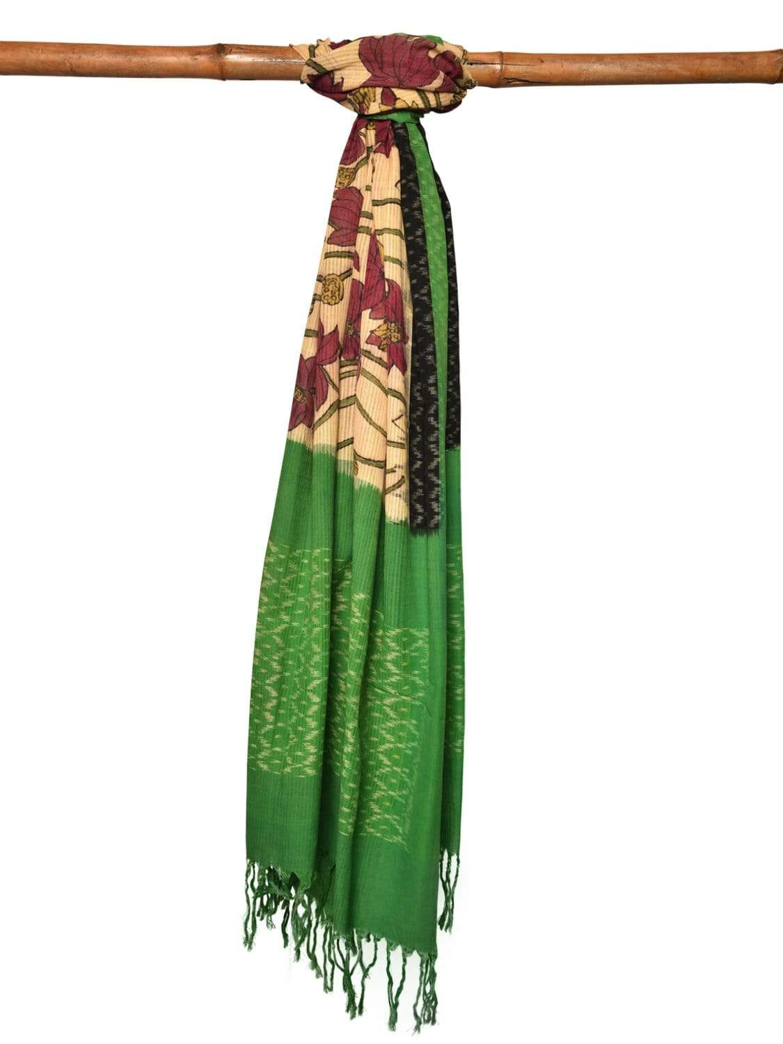 Cream and Green Kalamkari Hand Painted Ikat Cotton Handloom Dupatta with Lotus Flowers Design ds1972