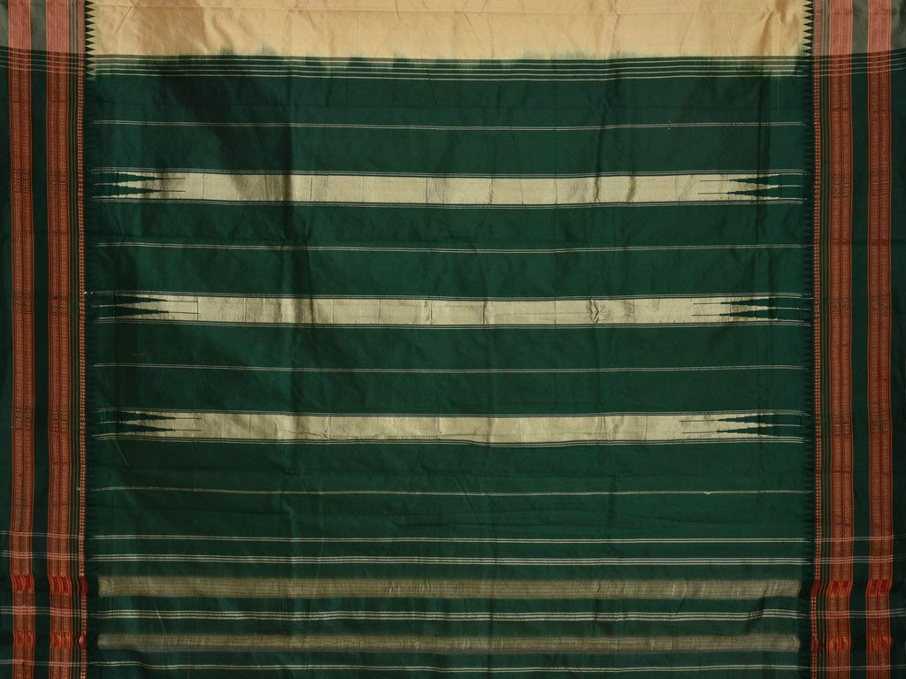 Cream and Green Narayanpet Silk Handloom Plain Saree with Contrast Pallu np0122