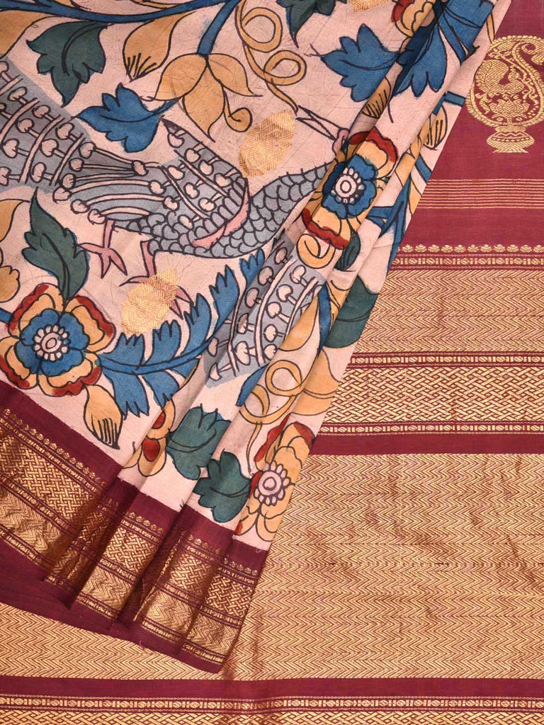 Cream and Maroon Kalamkari Hand Painted Gadwal Silk Handloom Saree with Flowers and Peacocks Design KL0347
