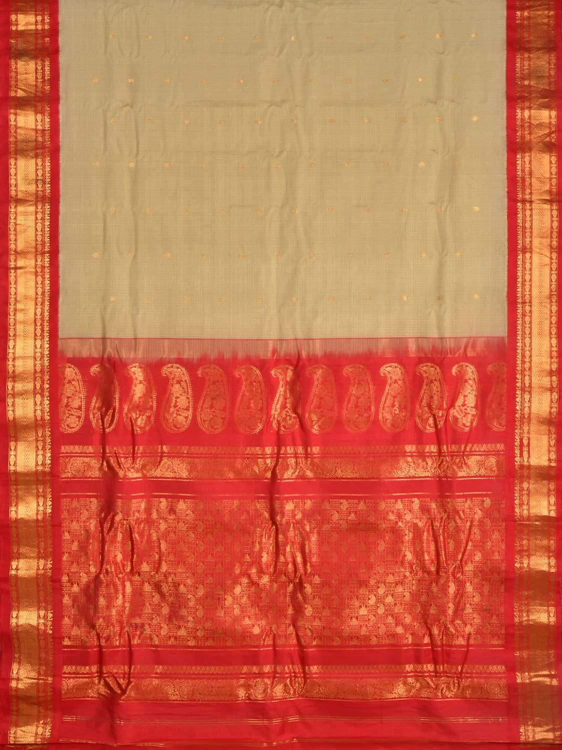 Cream and Red Gadwal Cotton Silk Handloom Saree with Border and Mango Pallu Design g0241