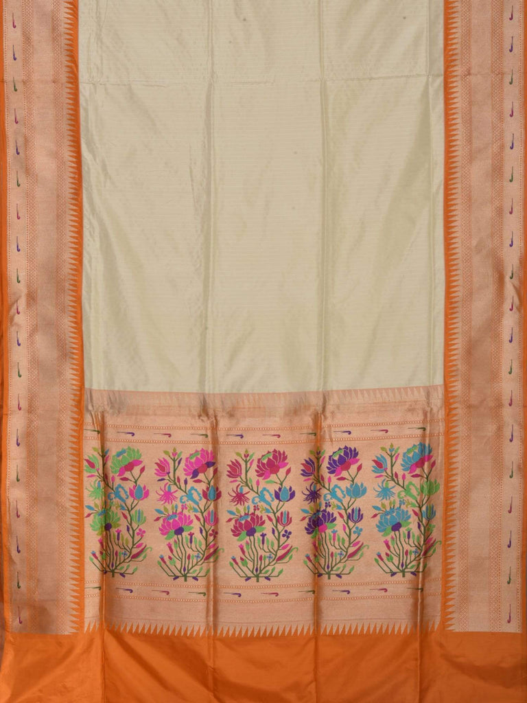 Cream Banaras Silk Handloom Saree with Paithani Pallu and Border Design b0265