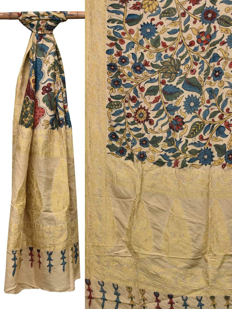 Cream Kalamkari Hand Painted Banaras Silk Dupatta with Exotic Flowers Design ds2099