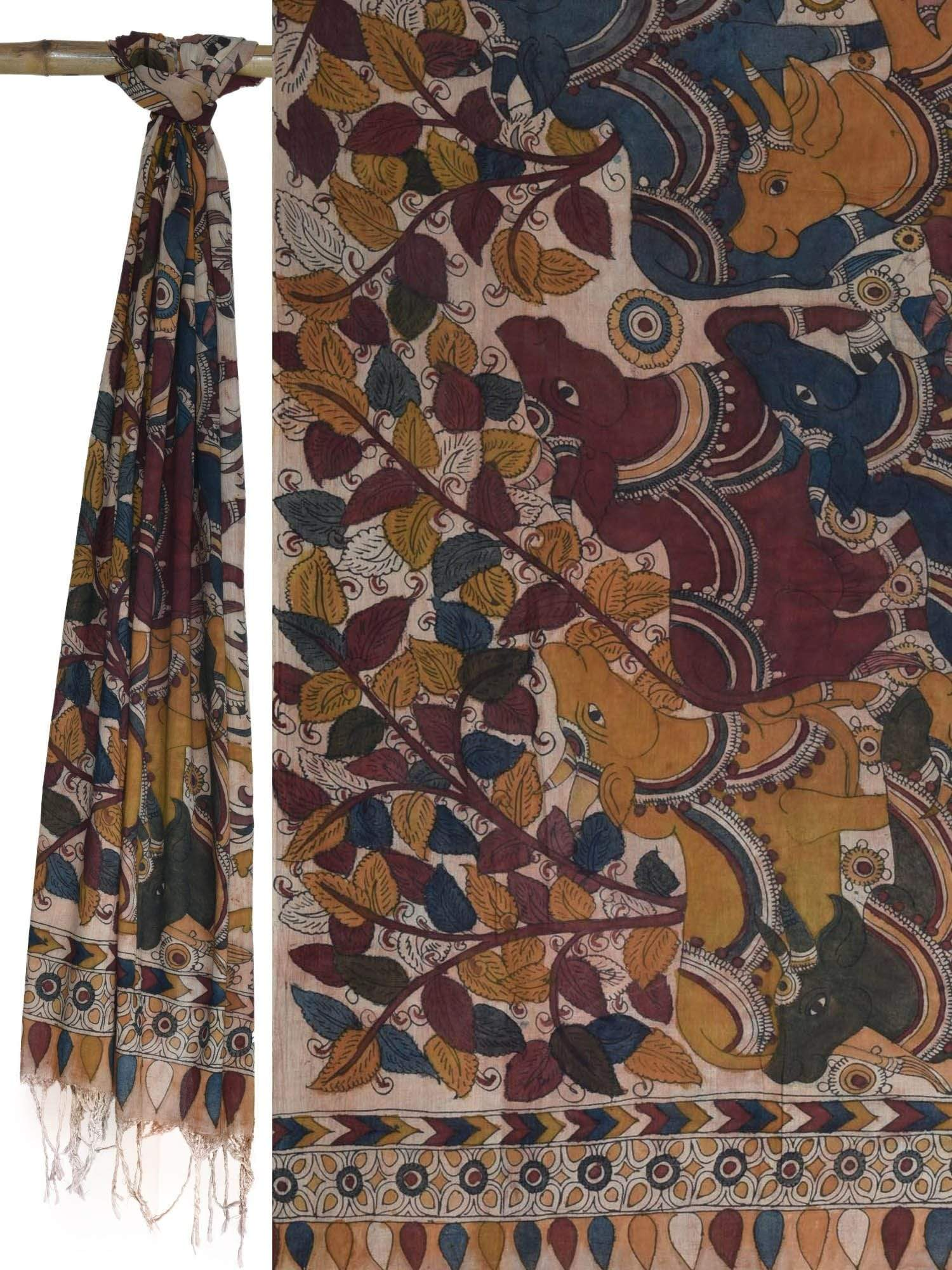 Cream Kalamkari Hand Painted Cotton Dupatta with Cows Design ds1636